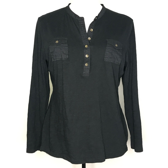 GAP Tops - Gap Black Henley Long Sleeve Blouse Top A080540